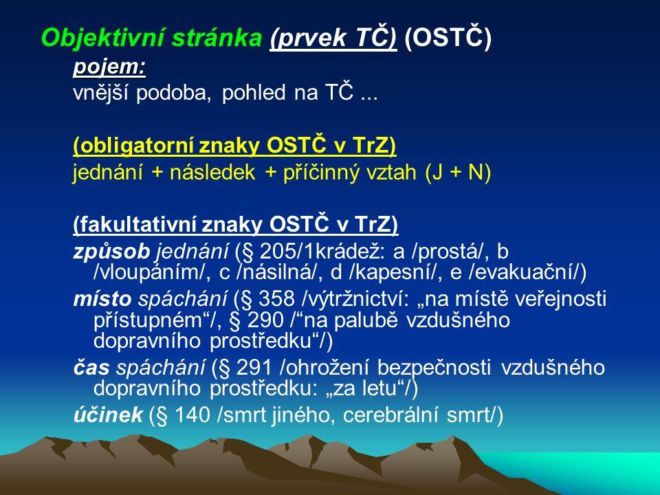 Objektivní stránka (prvek TČ) (OSTČ)
