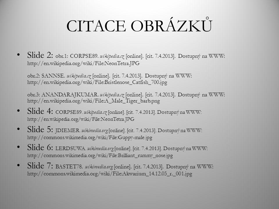 CITACE OBRÁZKŮ