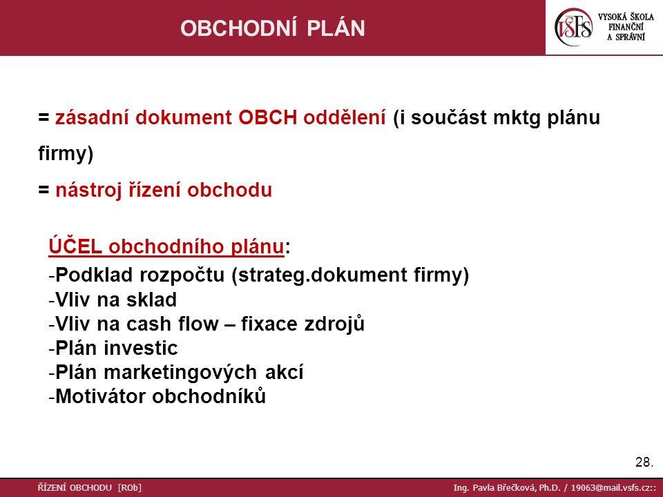 OBCHODNÍ PLÁN = zásadní dokument OBCH oddělení (i součást mktg plánu firmy) = nástroj řízení obchodu.