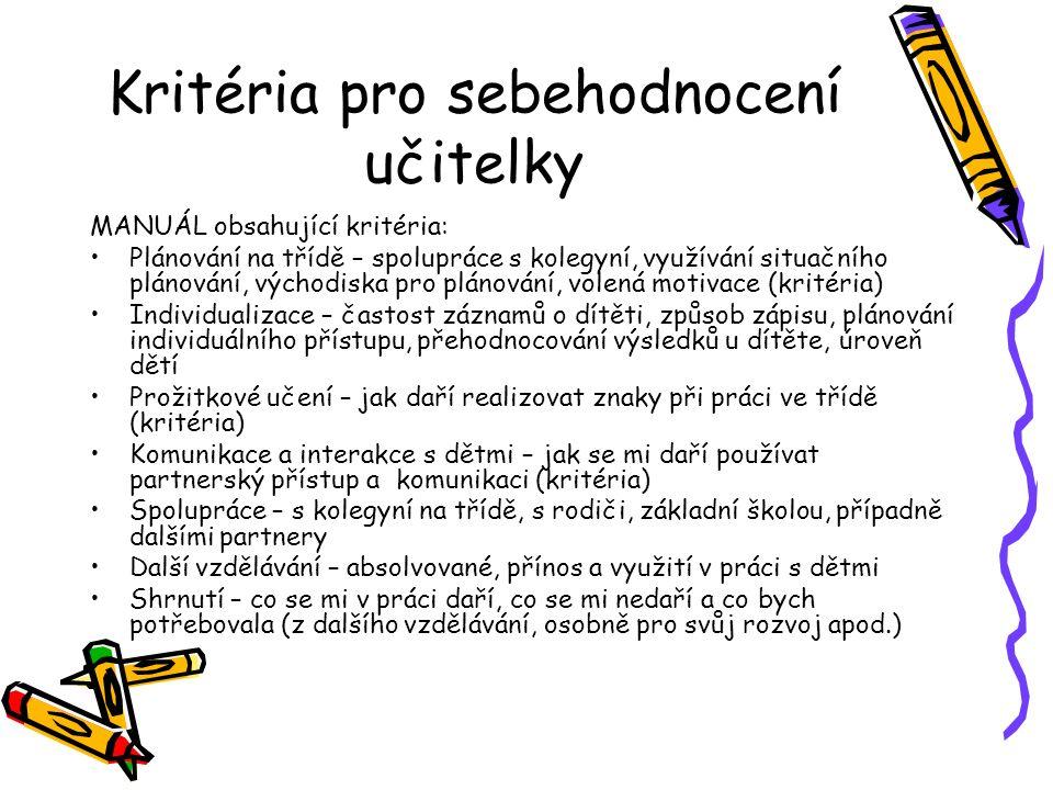 Kritéria pro sebehodnocení učitelky