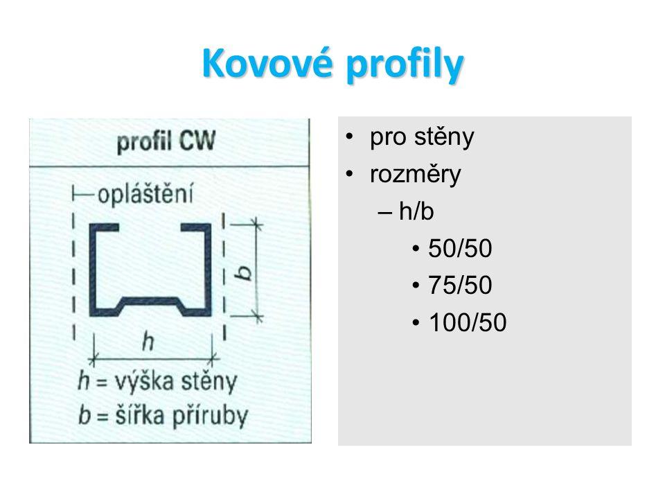 Kovové profily pro stěny rozměry h/b 50/50 75/50 100/50