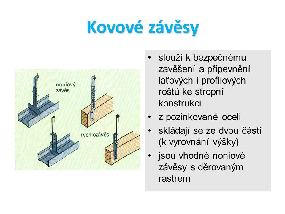 Kovové závěsy slouží k bezpečnému zavěšení a připevnění laťových i profilových roštů ke stropní konstrukci.