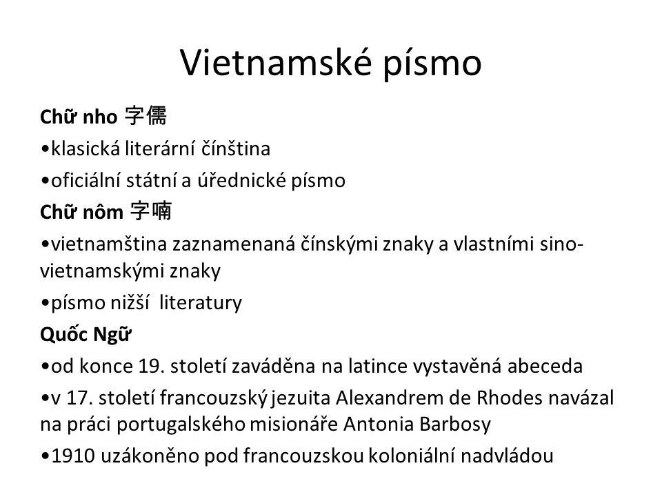 Vietnamské písmo Chữ nho 字儒 klasická literární čínština