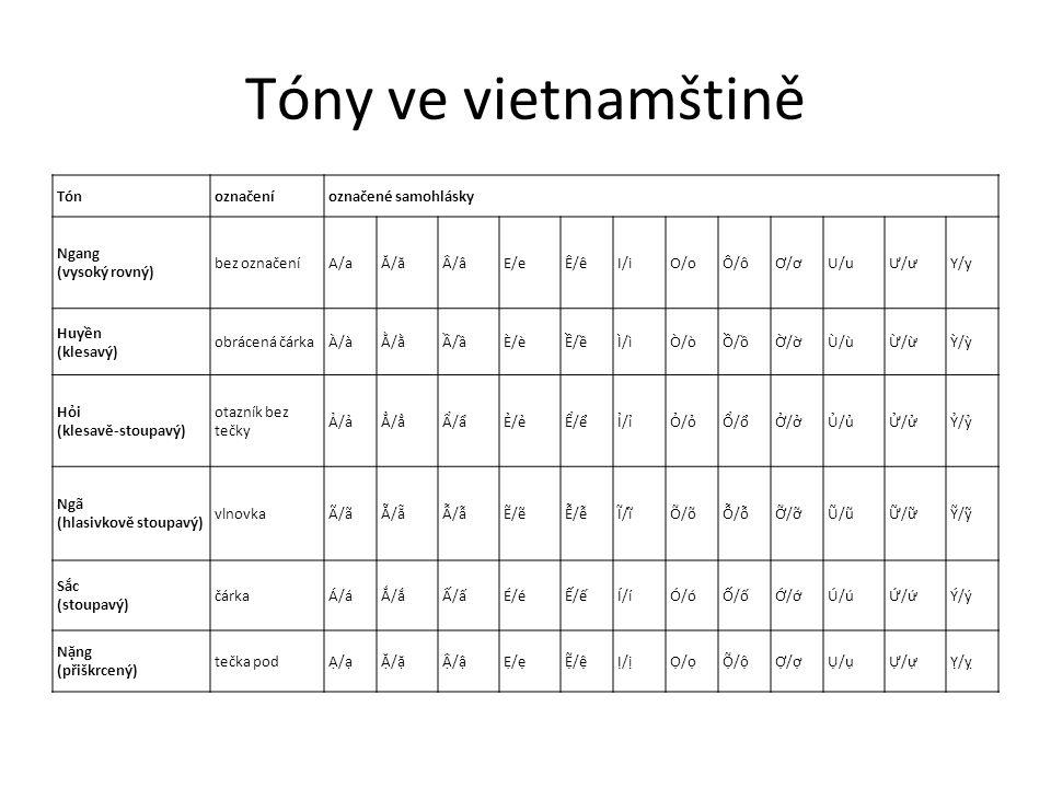 Tóny ve vietnamštině Tón označení označené samohlásky Ngang