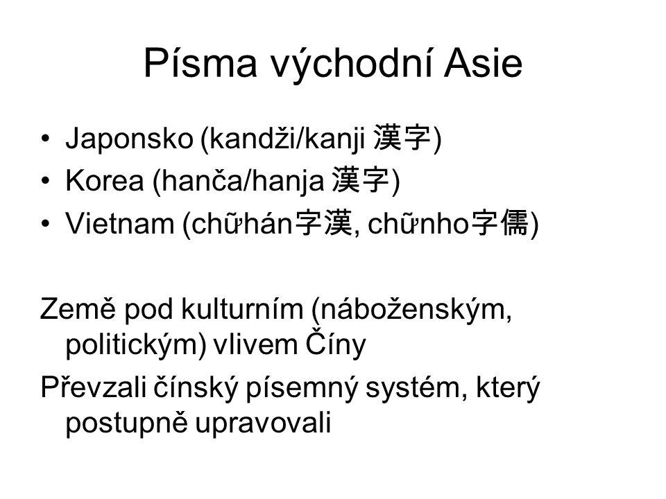 Písma východní Asie Japonsko (kandži/kanji 漢字) Korea (hanča/hanja 漢字)