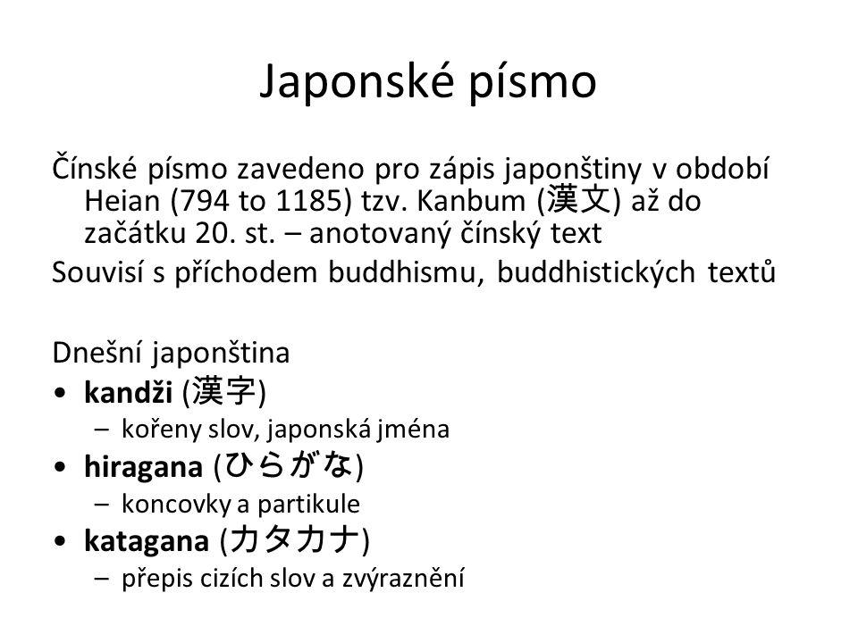Japonské písmo Čínské písmo zavedeno pro zápis japonštiny v období Heian (794 to 1185) tzv. Kanbum (漢文) až do začátku 20. st. – anotovaný čínský text.