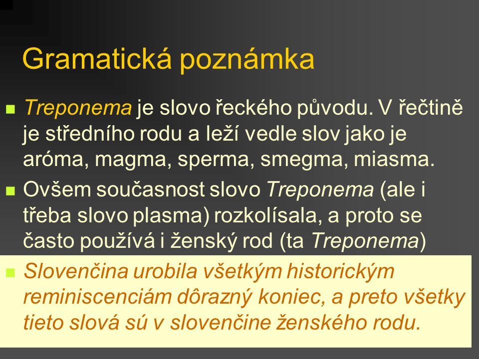 Gramatická poznámka Treponema je slovo řeckého původu. V řečtině je středního rodu a leží vedle slov jako je aróma, magma, sperma, smegma, miasma.