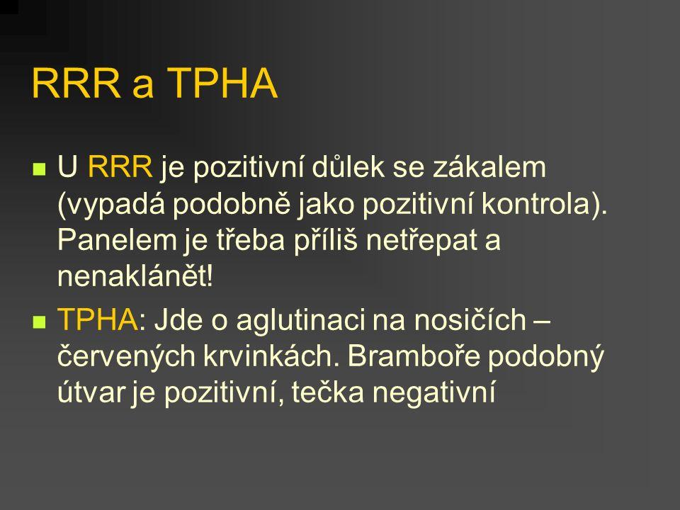 RRR a TPHA U RRR je pozitivní důlek se zákalem (vypadá podobně jako pozitivní kontrola). Panelem je třeba příliš netřepat a nenaklánět!