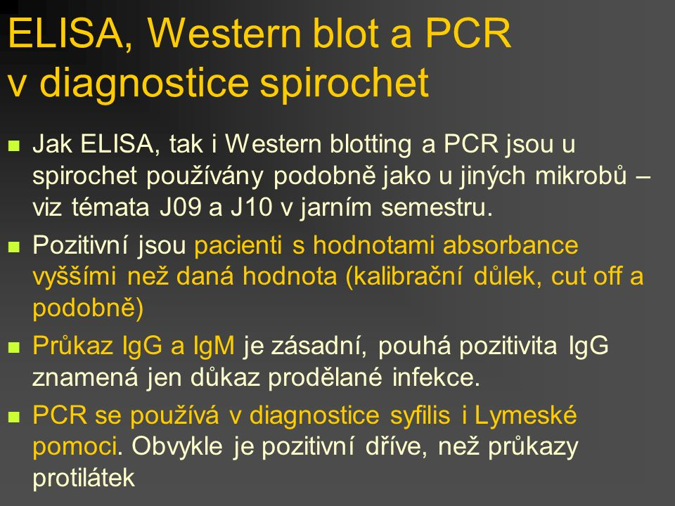 ELISA, Western blot a PCR v diagnostice spirochet