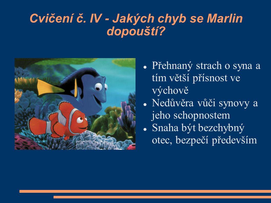 Cvičení č. IV - Jakých chyb se Marlin dopouští