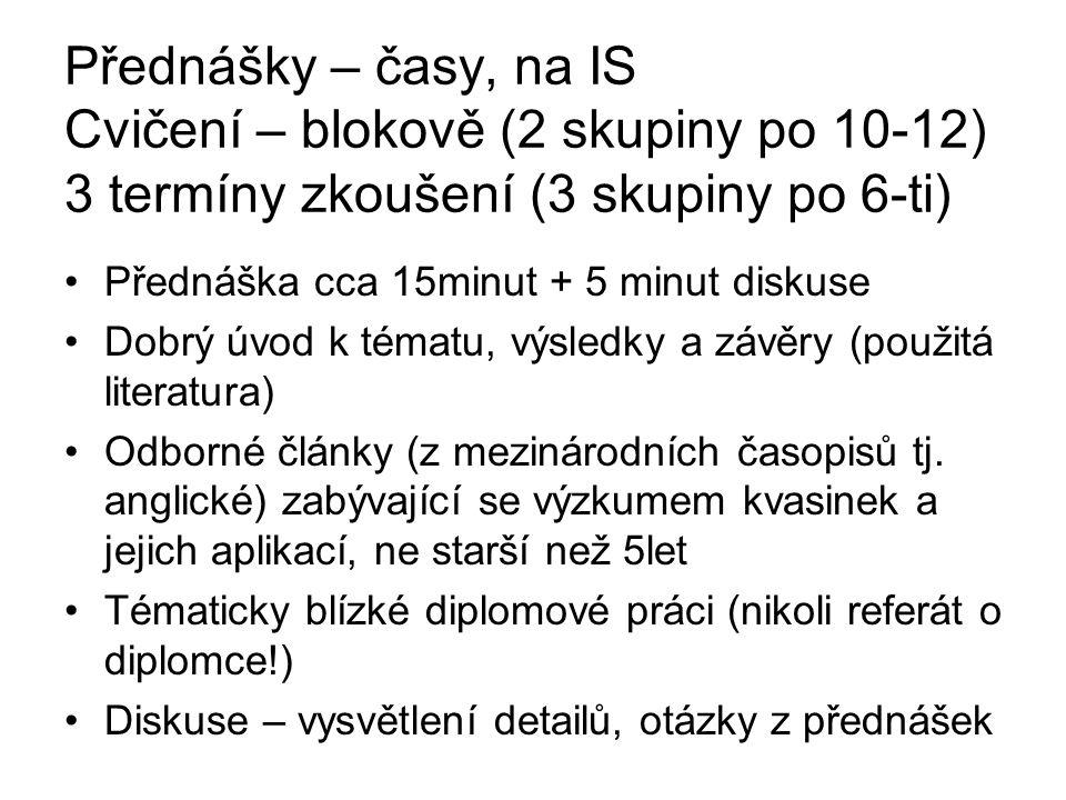 Přednášky – časy, na IS Cvičení – blokově (2 skupiny po 10-12) 3 termíny zkoušení (3 skupiny po 6-ti)