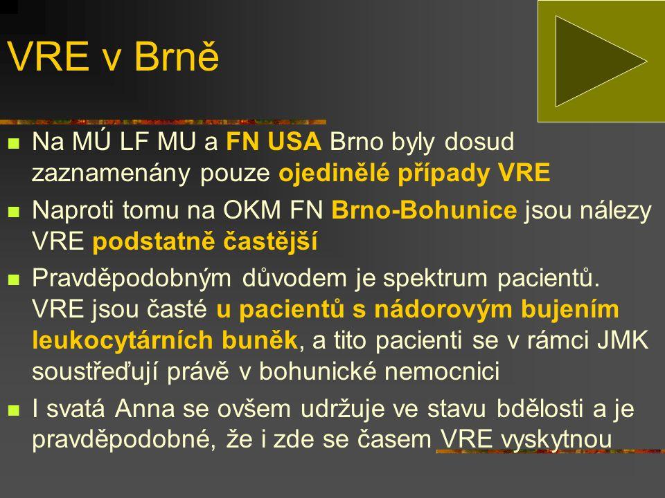 VRE v Brně Na MÚ LF MU a FN USA Brno byly dosud zaznamenány pouze ojedinělé případy VRE.