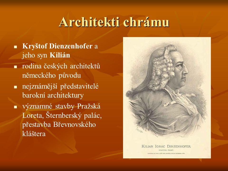 Architekti chrámu Kryštof Dienzenhofer a jeho syn Kilián
