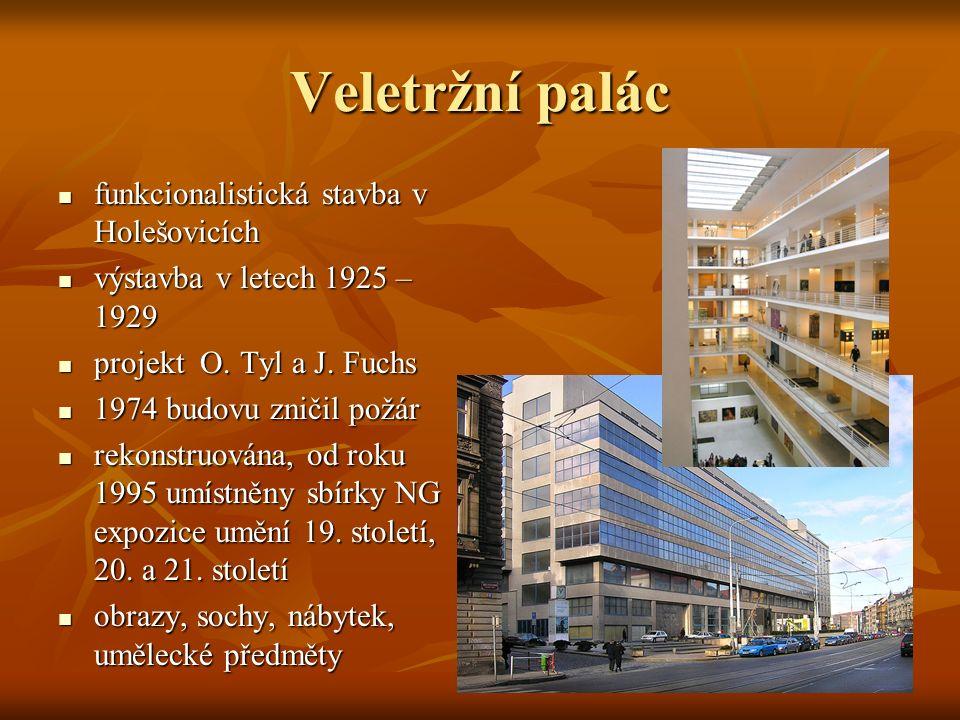 Veletržní palác funkcionalistická stavba v Holešovicích