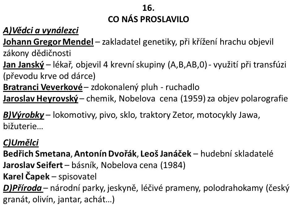 16. CO NÁS PROSLAVILO. A)Vědci a vynálezci. Johann Gregor Mendel – zakladatel genetiky, při křížení hrachu objevil zákony dědičnosti.