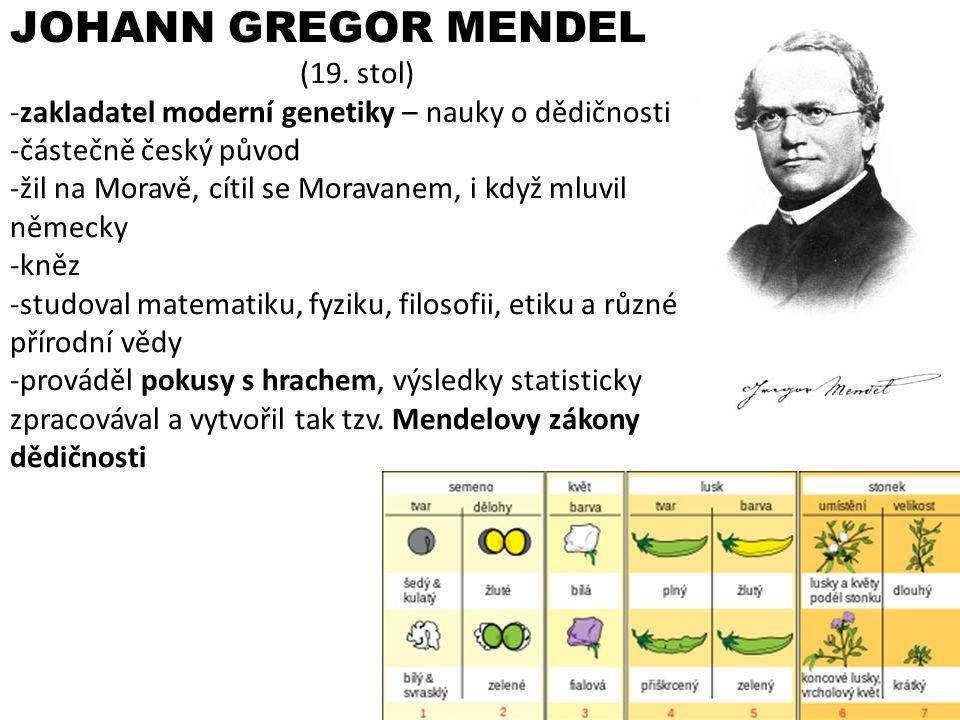 JOHANN GREGOR MENDEL (19. stol)