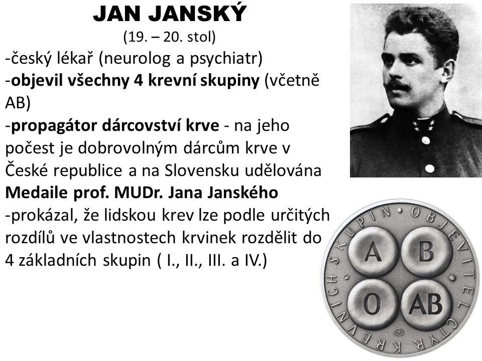 JAN JANSKÝ český lékař (neurolog a psychiatr)