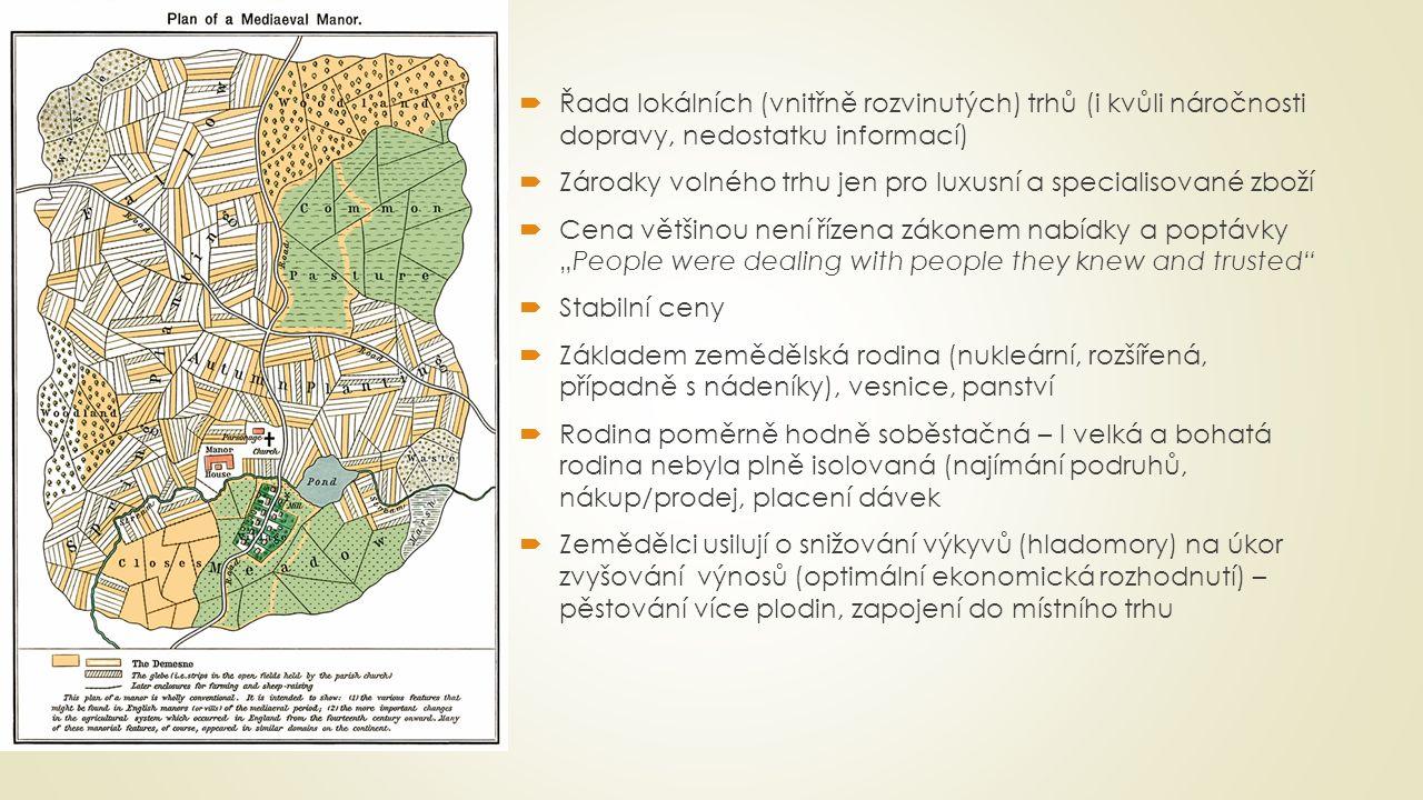Řada lokálních (vnitřně rozvinutých) trhů (i kvůli náročnosti dopravy, nedostatku informací)