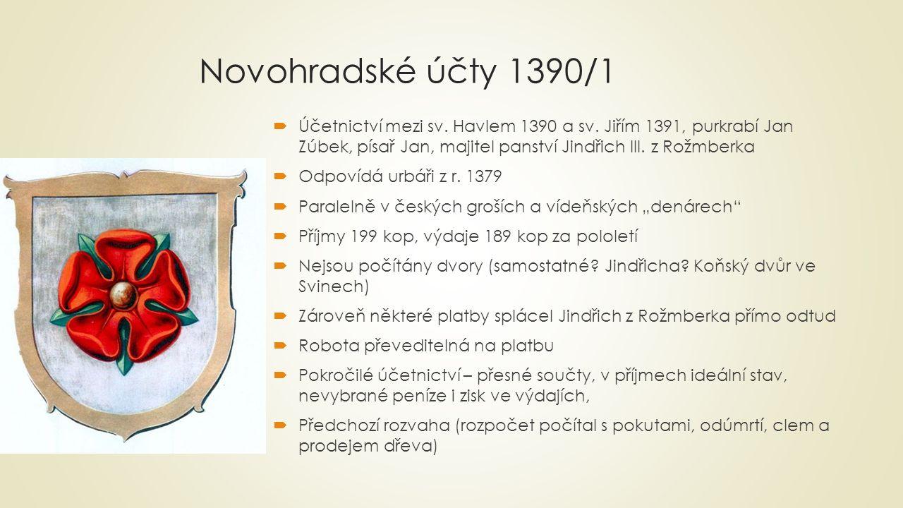 Novohradské účty 1390/1 Účetnictví mezi sv. Havlem 1390 a sv. Jiřím 1391, purkrabí Jan Zúbek, písař Jan, majitel panství Jindřich III. z Rožmberka.