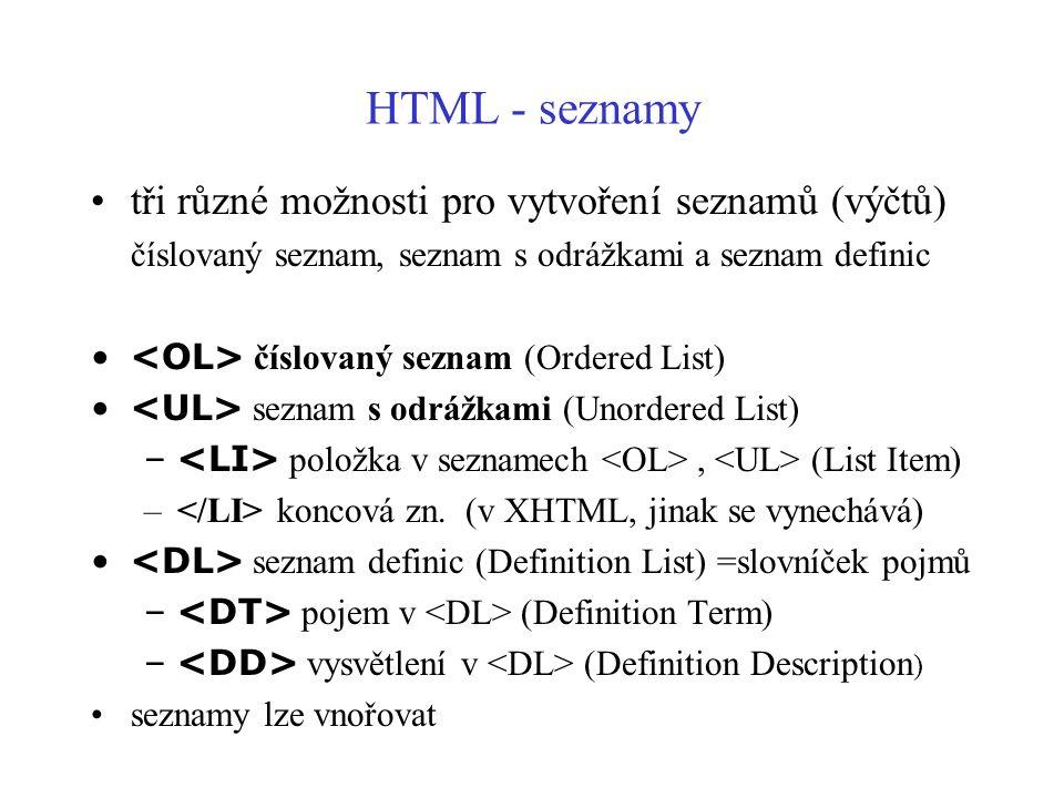 HTML - seznamy tři různé možnosti pro vytvoření seznamů (výčtů)