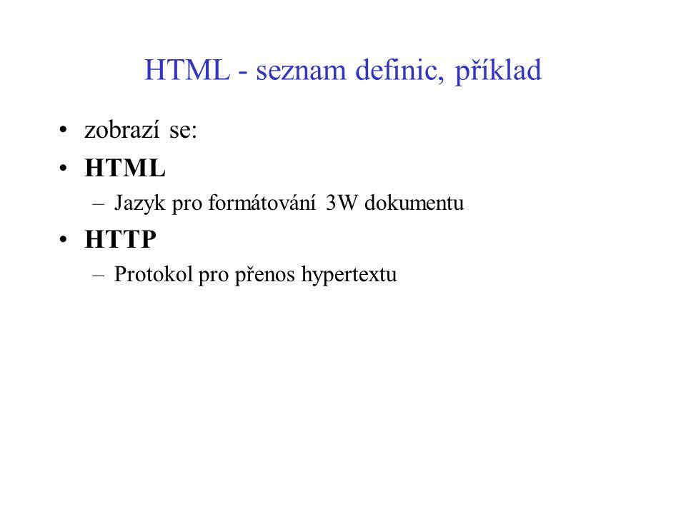 HTML - seznam definic, příklad