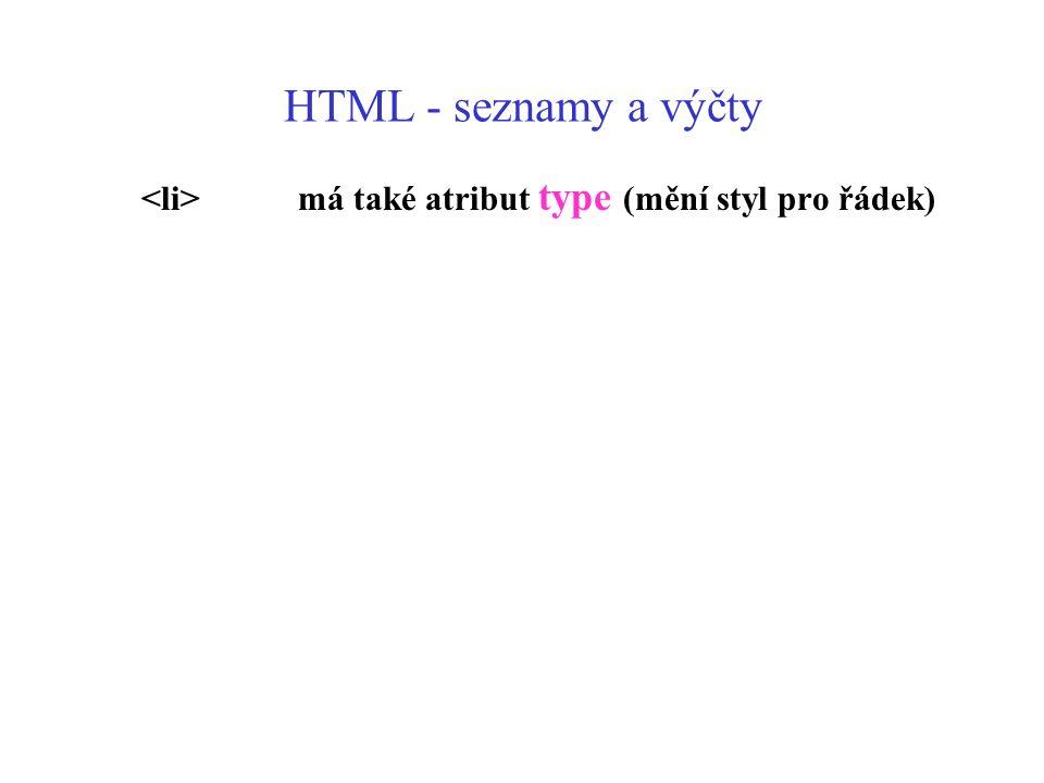 HTML - seznamy a výčty <li> má také atribut type (mění styl pro řádek)