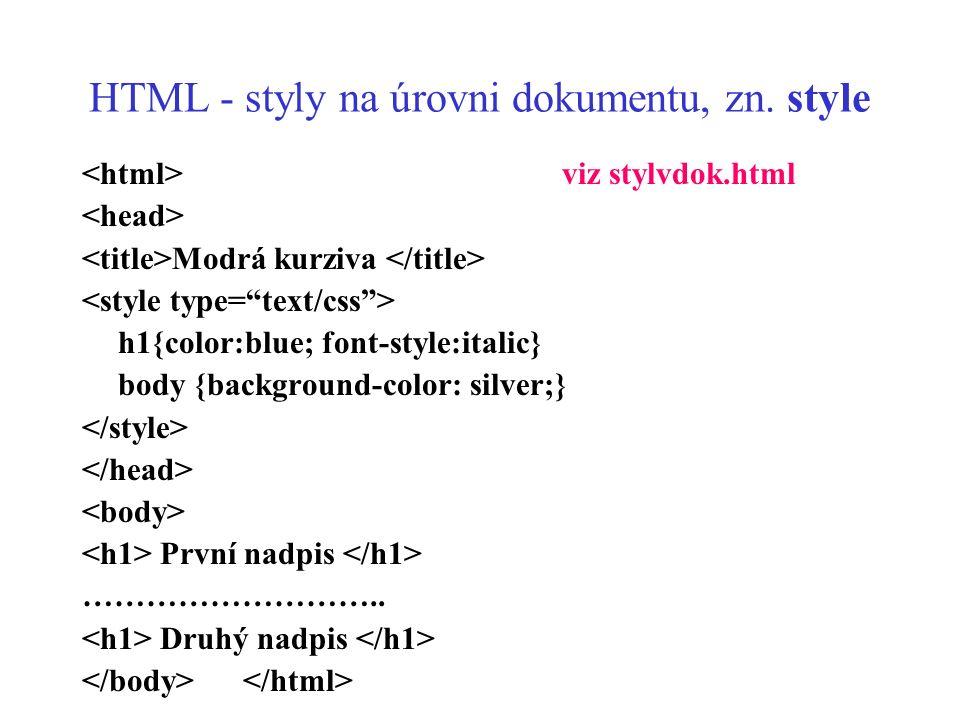 HTML - styly na úrovni dokumentu, zn. style