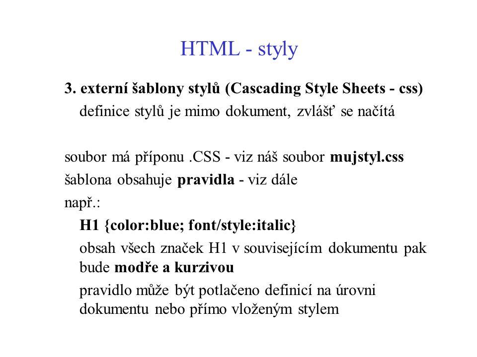 HTML - styly 3. externí šablony stylů (Cascading Style Sheets - css)
