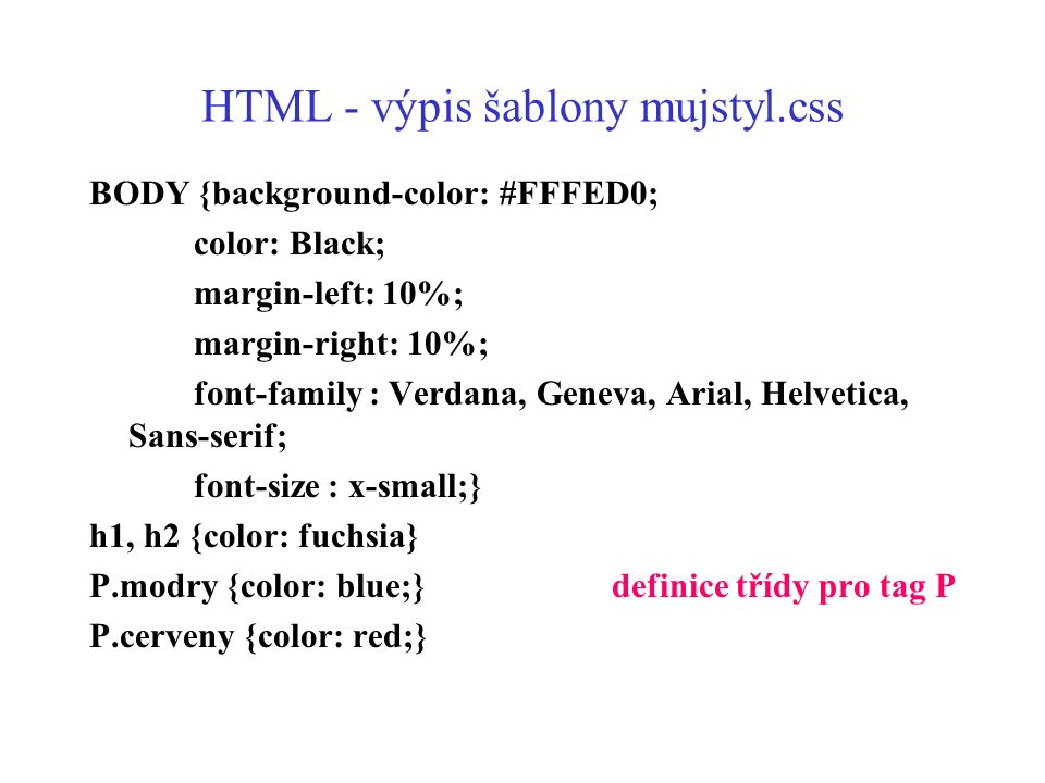 HTML - výpis šablony mujstyl.css