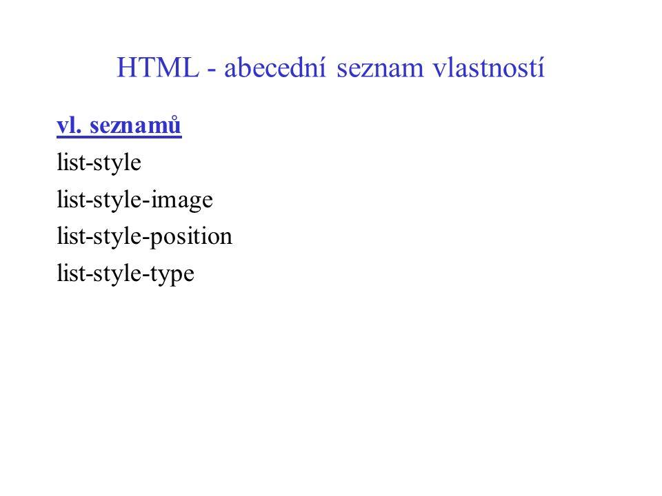 HTML - abecední seznam vlastností