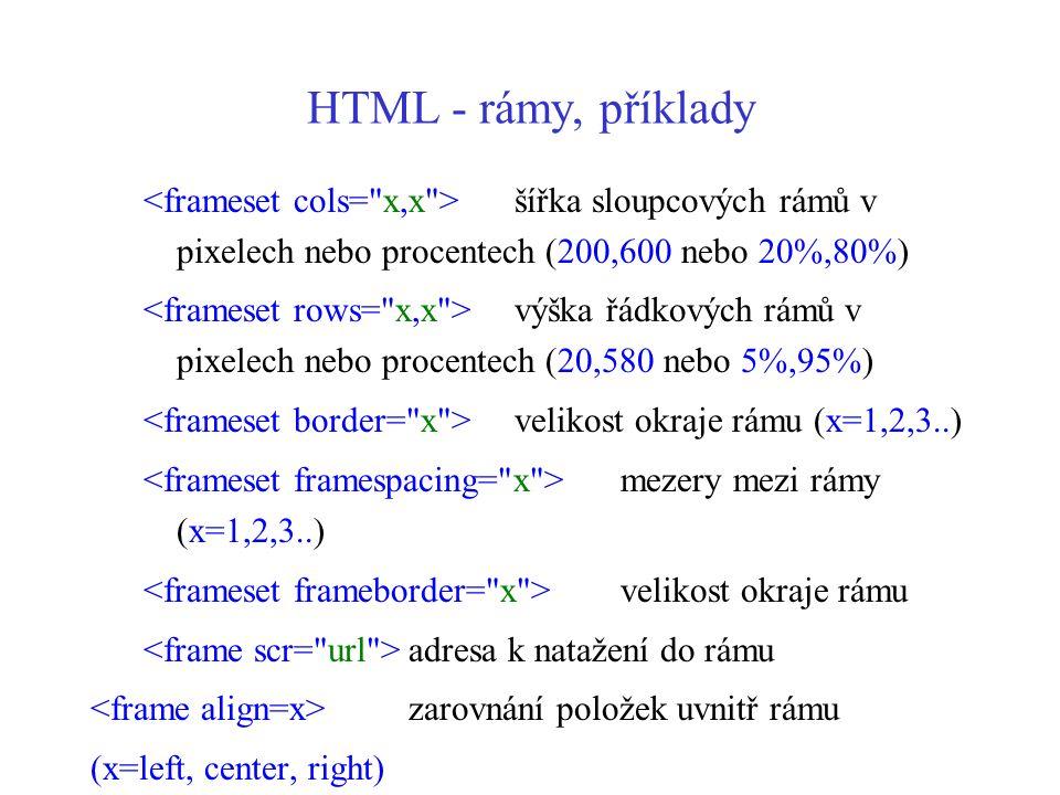 HTML - rámy, příklady <frameset cols= x,x > šířka sloupcových rámů v pixelech nebo procentech (200,600 nebo 20%,80%)