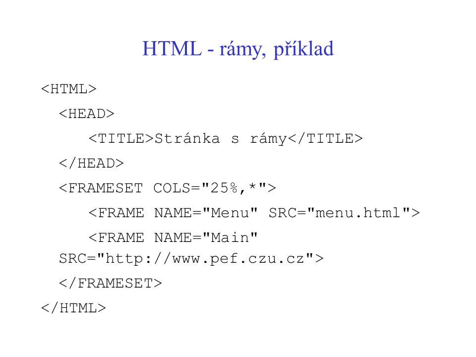HTML - rámy, příklad <HTML> <HEAD>