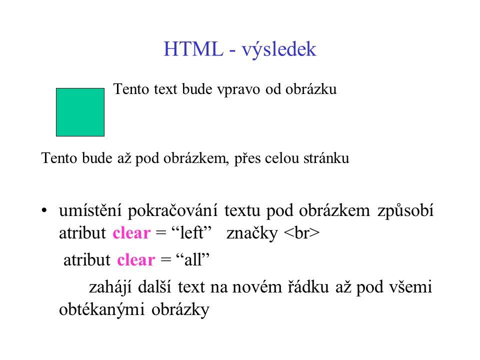 HTML - výsledek Tento text bude vpravo od obrázku. Tento bude až pod obrázkem, přes celou stránku.