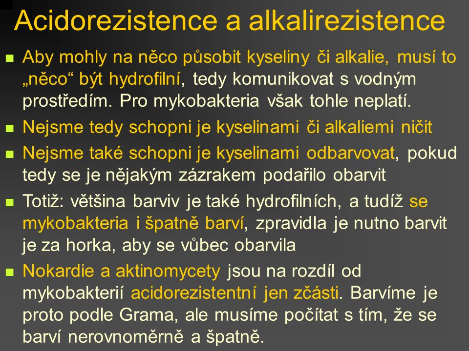Acidorezistence a alkalirezistence