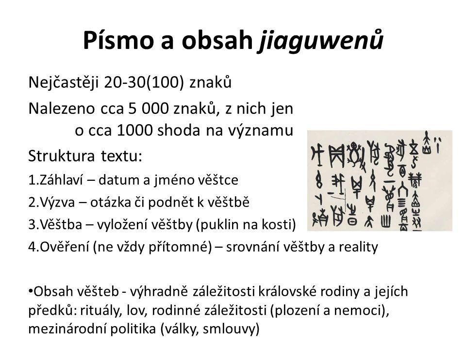 Písmo a obsah jiaguwenů