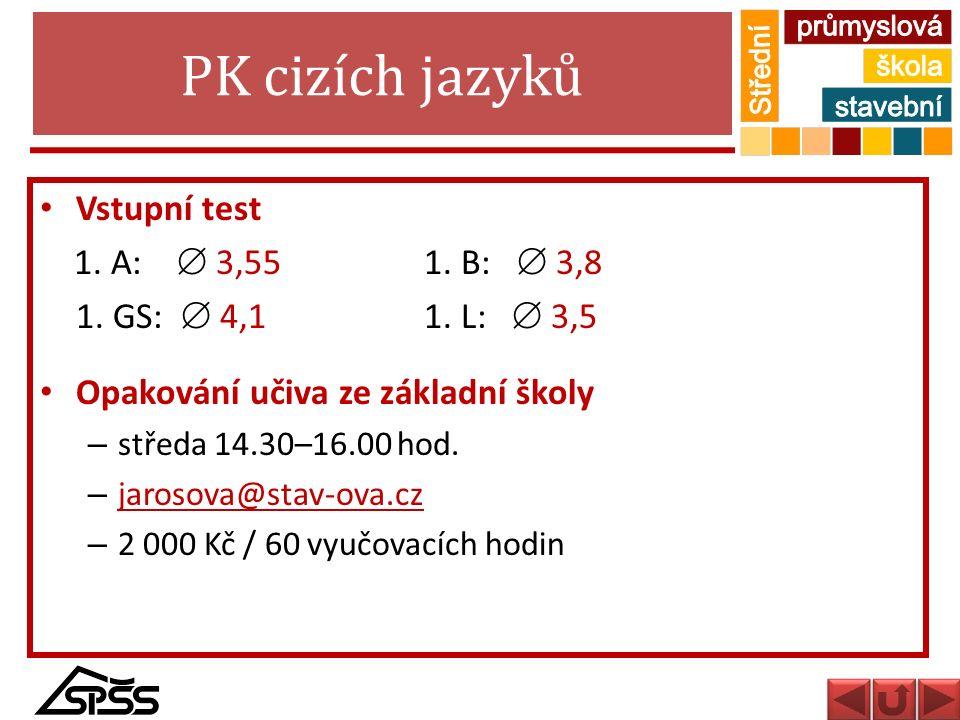 PK cizích jazyků Vstupní test 1. A:  3,55 1. B:  3,8