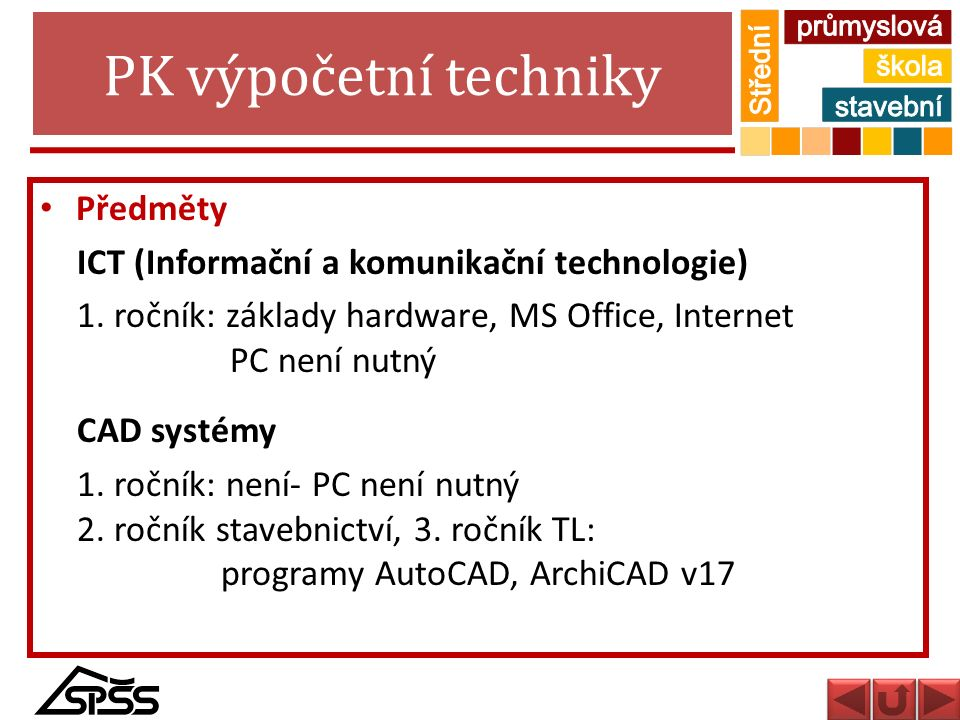 PK výpočetní techniky Předměty