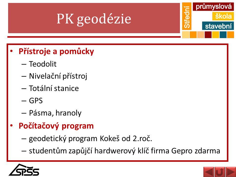 PK geodézie Přístroje a pomůcky Počítačový program Teodolit