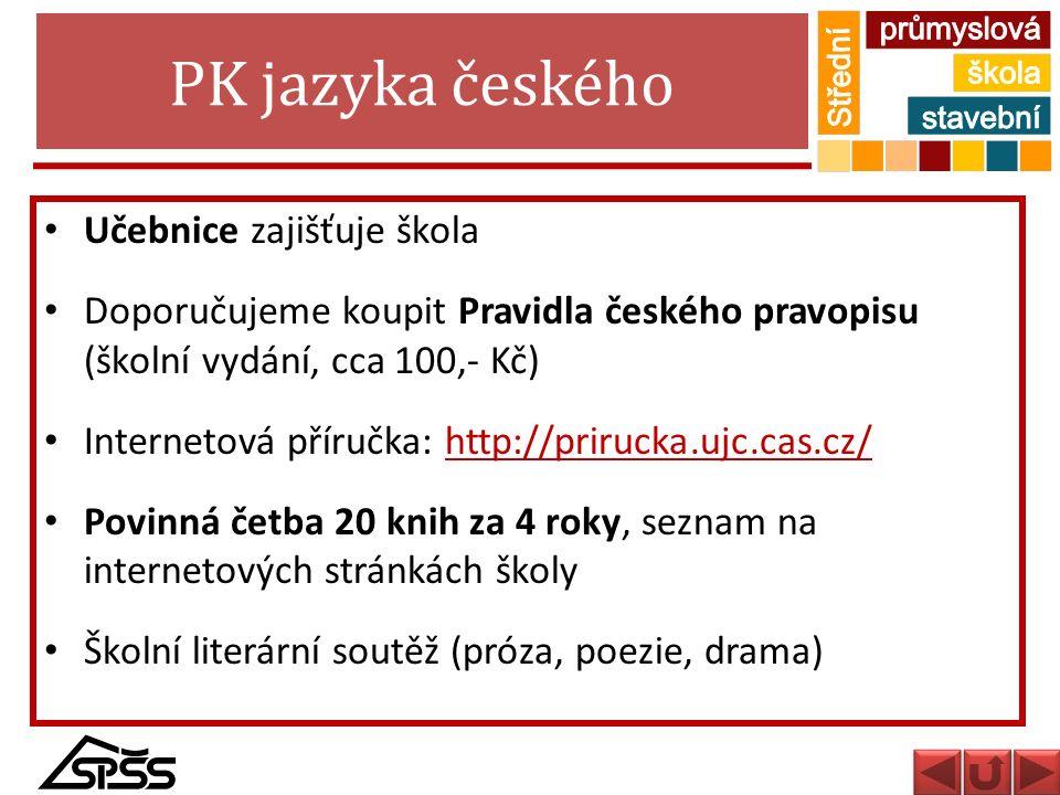 PK jazyka českého Učebnice zajišťuje škola
