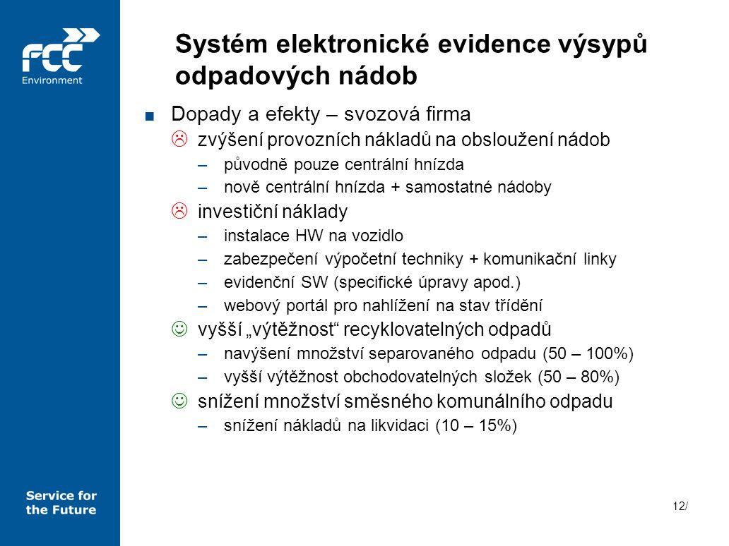 Systém elektronické evidence výsypů odpadových nádob