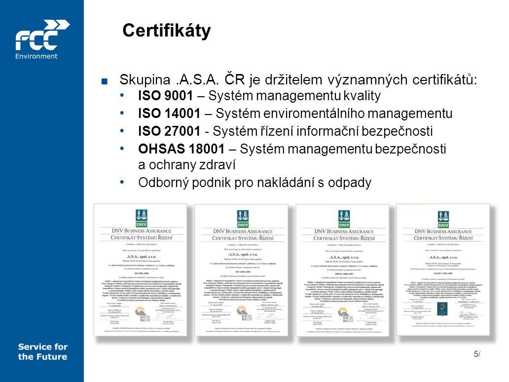 Certifikáty Skupina .A.S.A. ČR je držitelem významných certifikátů: