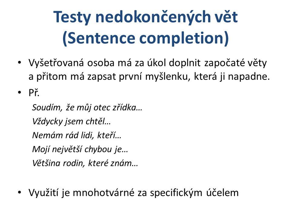 Testy nedokončených vět (Sentence completion)