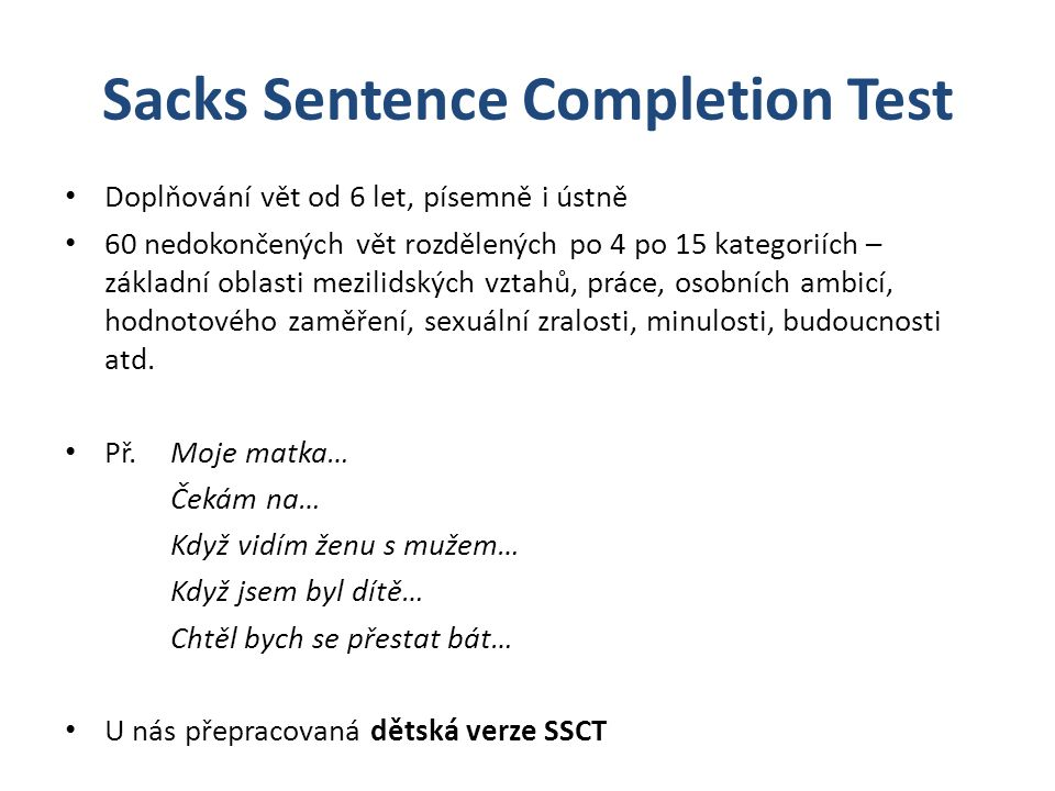 Sacks Sentence Completion Test