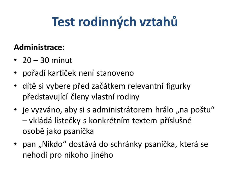 Test rodinných vztahů Administrace: 20 – 30 minut
