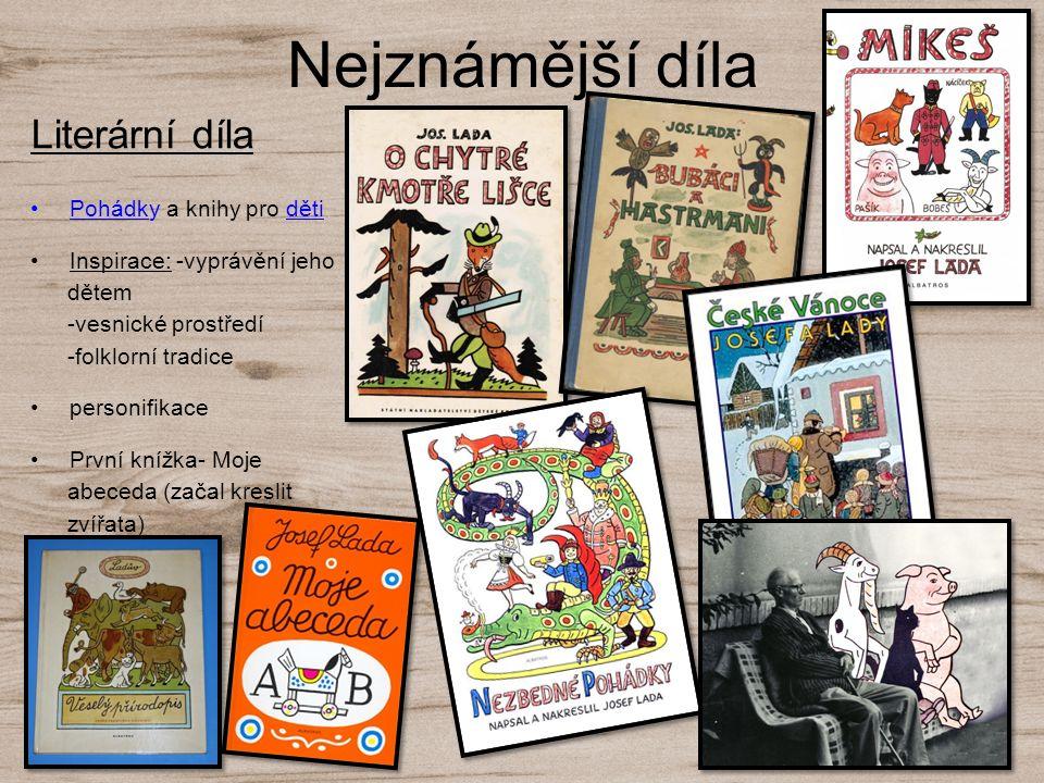 Nejznámější díla Literární díla Pohádky a knihy pro děti