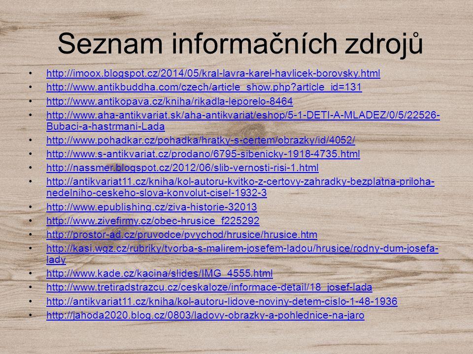Seznam informačních zdrojů