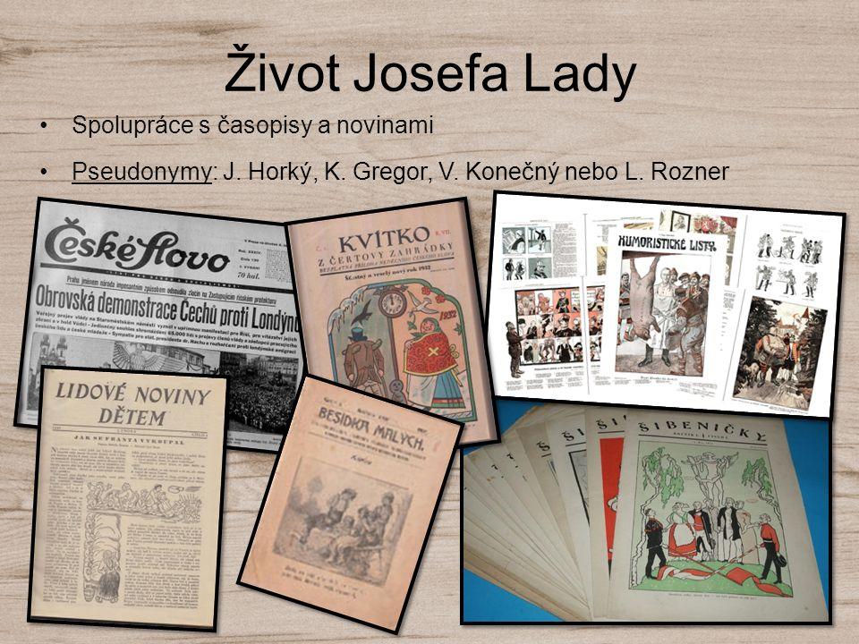 Život Josefa Lady Spolupráce s časopisy a novinami