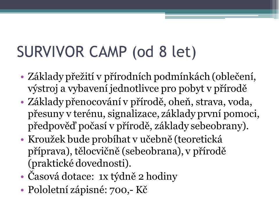 SURVIVOR CAMP (od 8 let) Základy přežití v přírodních podmínkách (oblečení, výstroj a vybavení jednotlivce pro pobyt v přírodě.