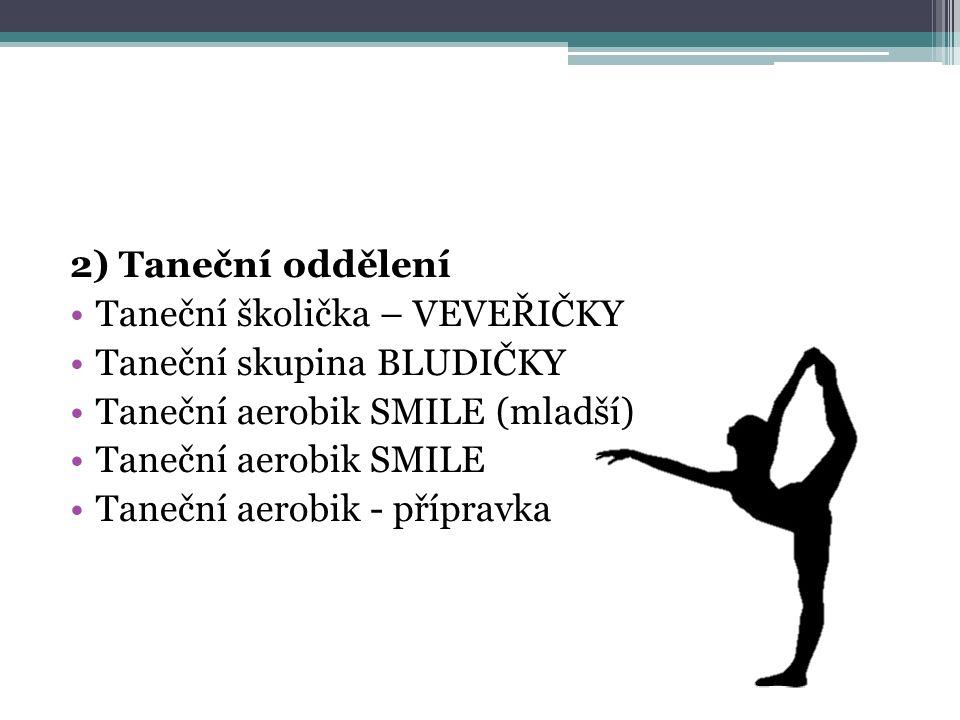 2) Taneční oddělení Taneční školička – VEVEŘIČKY. Taneční skupina BLUDIČKY. Taneční aerobik SMILE (mladší)