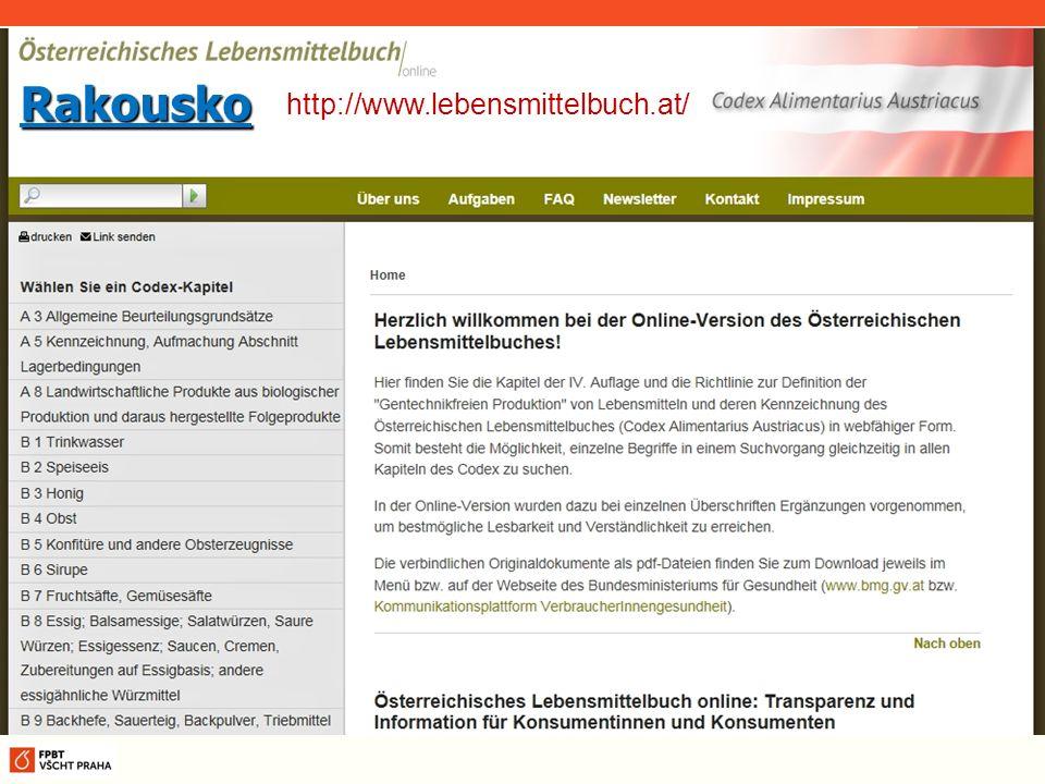 Rakousko http://www.lebensmittelbuch.at/